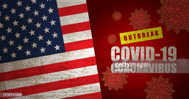coronavirus outbreak warning sign with usa - state of emergency stock illustrations