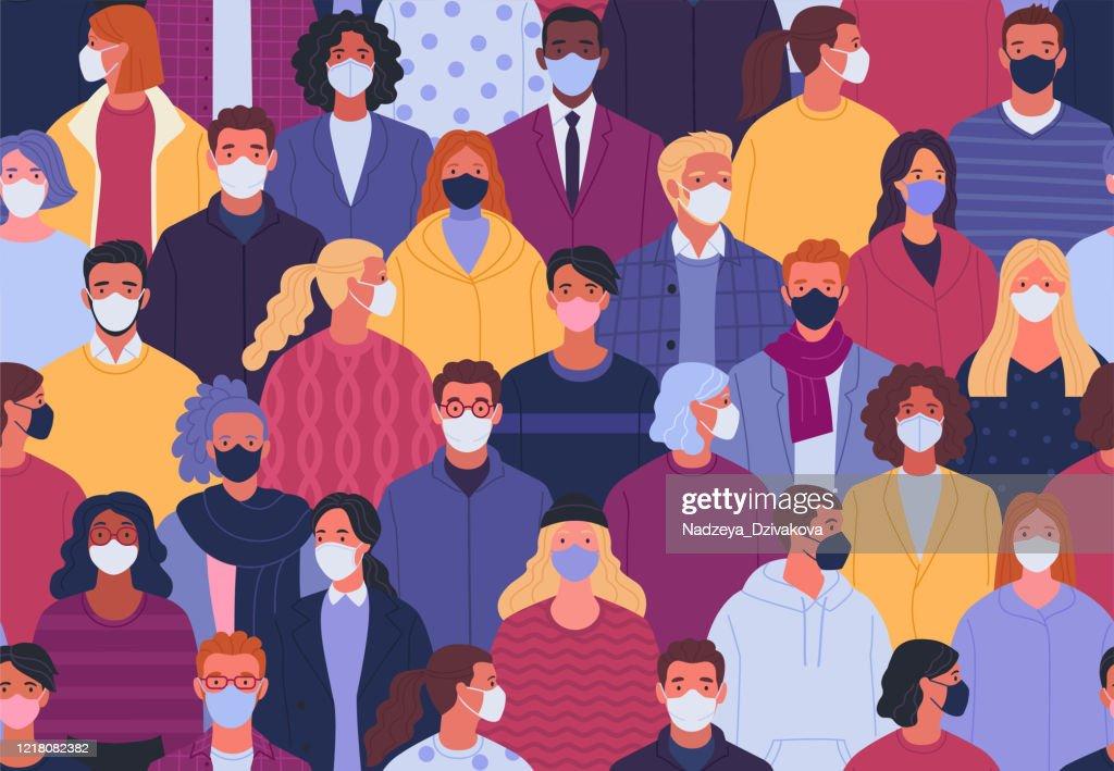 Coronavirus pandemie naadloos patroon. : Stockillustraties