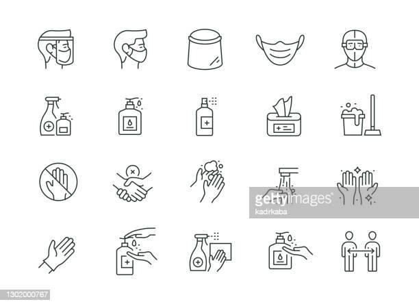 コロナウイルス予防シンラインシリーズ - 手術用グローブ点のイラスト素材/クリップアート素材/マンガ素材/アイコン素材