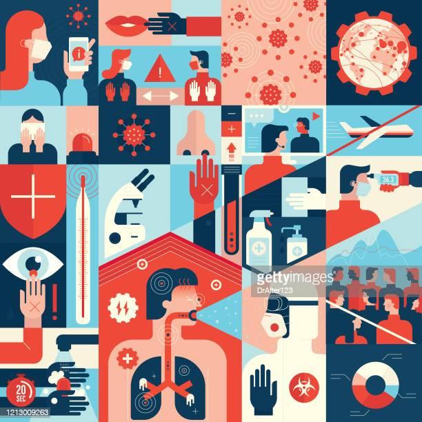 coronavirus prävention tipps und symptome - anweisungen konzepte stock-grafiken, -clipart, -cartoons und -symbole