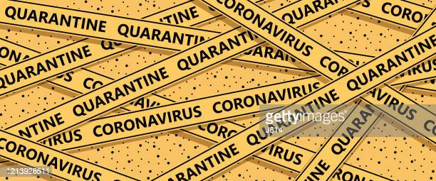 coronavirus quarantine cordon tape - lockdown stock illustrations