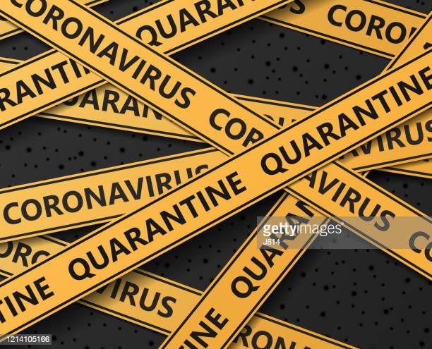 coronavirus quarantäne-absperrband - hinweisschild stock-grafiken, -clipart, -cartoons und -symbole