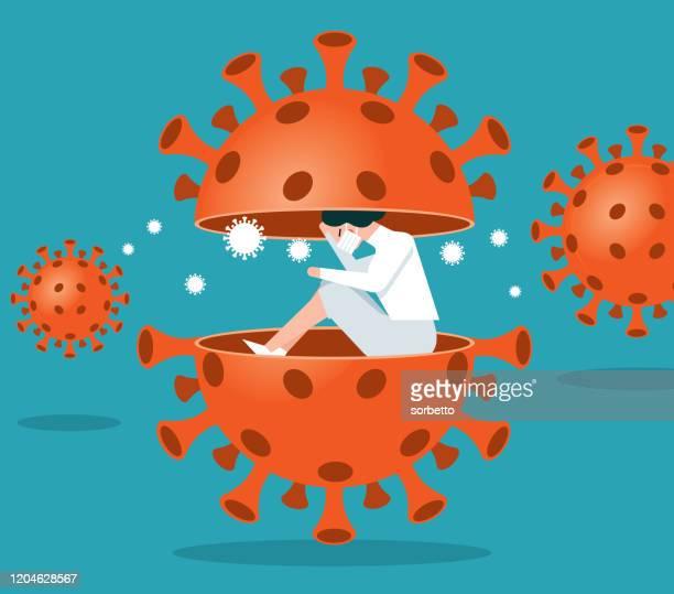 coronavirus - quarantine - patient - woman - immunology stock illustrations