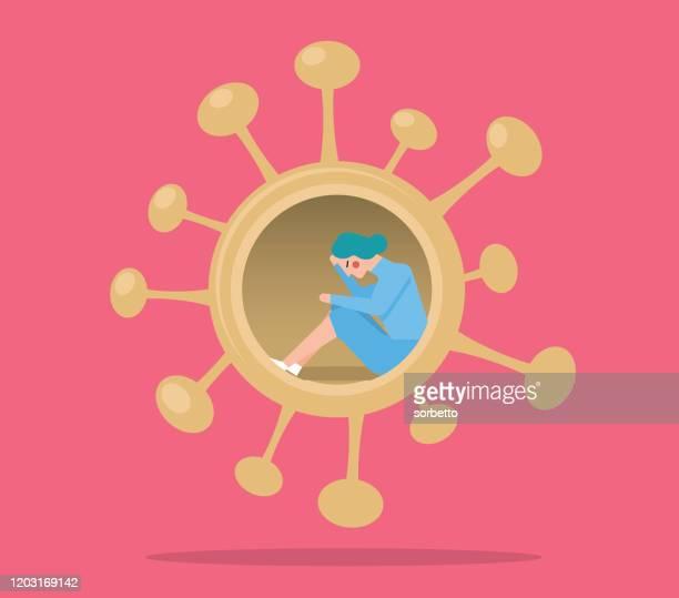 ilustraciones, imágenes clip art, dibujos animados e iconos de stock de coronavirus - cuarentena - mujeres - cuarentena
