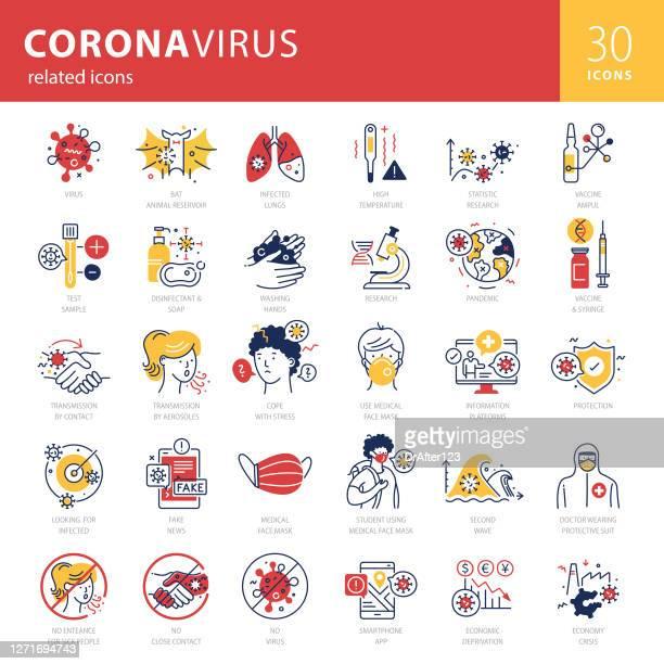coronavirus related trendy icons set - bad student stock illustrations