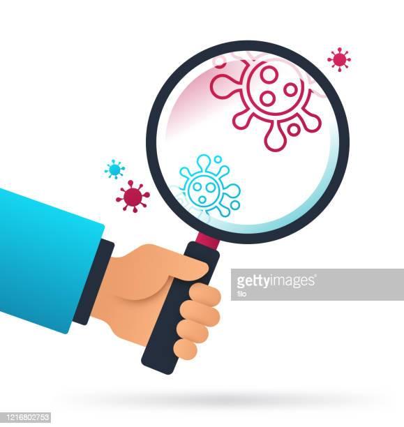 coronavirus research magnifying glass - antibody stock illustrations