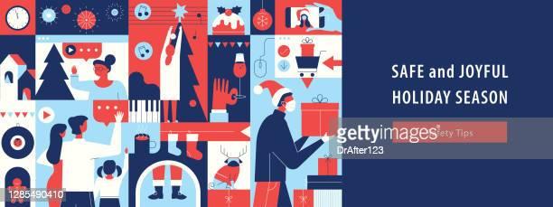 コロナウイルス安全12月の祝日 - 乾杯点のイラスト素材/クリップアート素材/マンガ素材/アイコン素材