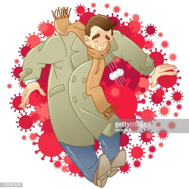 coronavirus sneeze spreading - wuhan stock illustrations