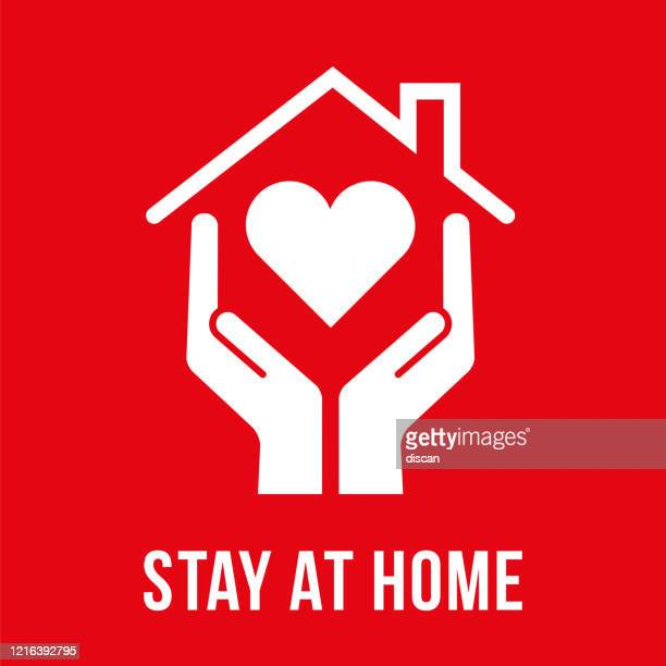 coronavirus - stay at home symbol. - stay at home order stock illustrations