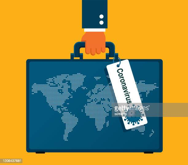coronavirus - suitcase - travel ban stock illustrations