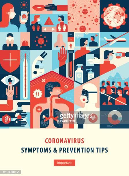 coronavirus symptoms and prevention tips cover template.ai - pandemic illness stock illustrations