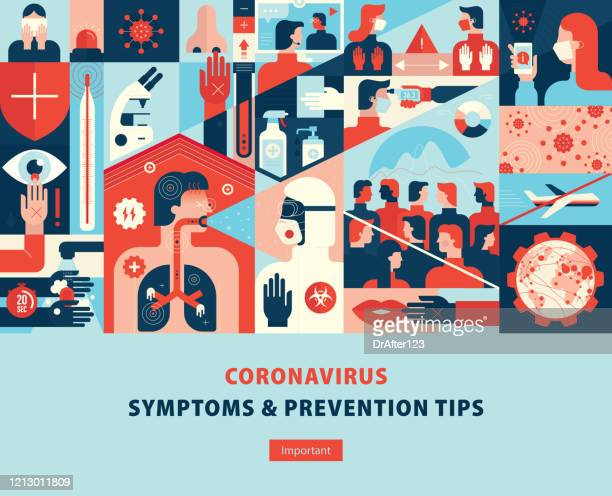 coronavirus symptoms and prevention tips template cover - washing hands stock illustrations