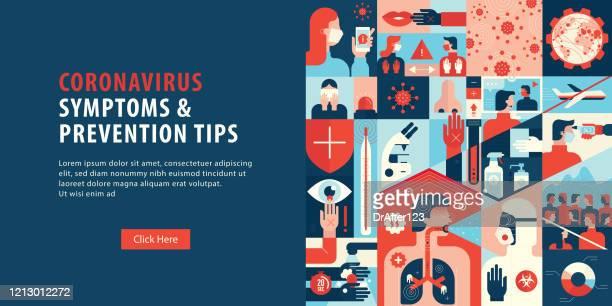 ilustraciones, imágenes clip art, dibujos animados e iconos de stock de síntomas del coronavirus y consejos de prevención web banner - cuarentena