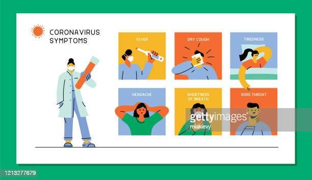 coronavirus symptoms - cold and flu stock illustrations