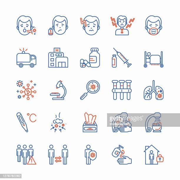 coronavirus thin line icons set. - two tone color stock illustrations