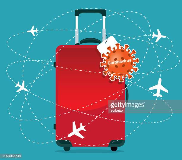 coronavirus - travel suitcase - travel ban stock illustrations