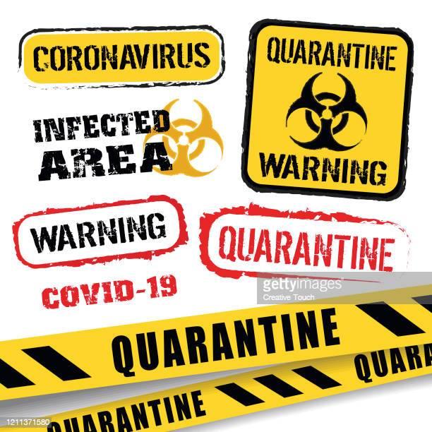 ilustraciones, imágenes clip art, dibujos animados e iconos de stock de banderas de advertencia de coronavirus - cuarentena