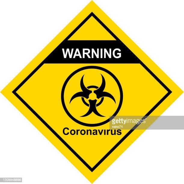 ilustraciones, imágenes clip art, dibujos animados e iconos de stock de señal de advertencia de coronavirus - cuarentena