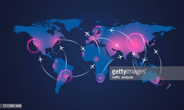coronavirus world map - spreading stock illustrations