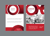 Corporate brochure, document cover page, presentation, leaflet, annual report with circles and stripes in red colors. Vector geometric abstract design.