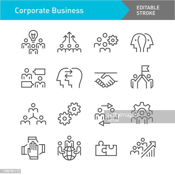illustrazioni stock, clip art, cartoni animati e icone di tendenza di icone del business aziendale e della cooperazione - line series - corsa modificabile - gruppo di oggetti