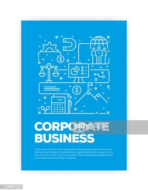 ilustrações, clipart, desenhos animados e ícones de negócios corporativos conceito design capa de estilo de linha para anual relatório, flyer, folheto. - portfolio