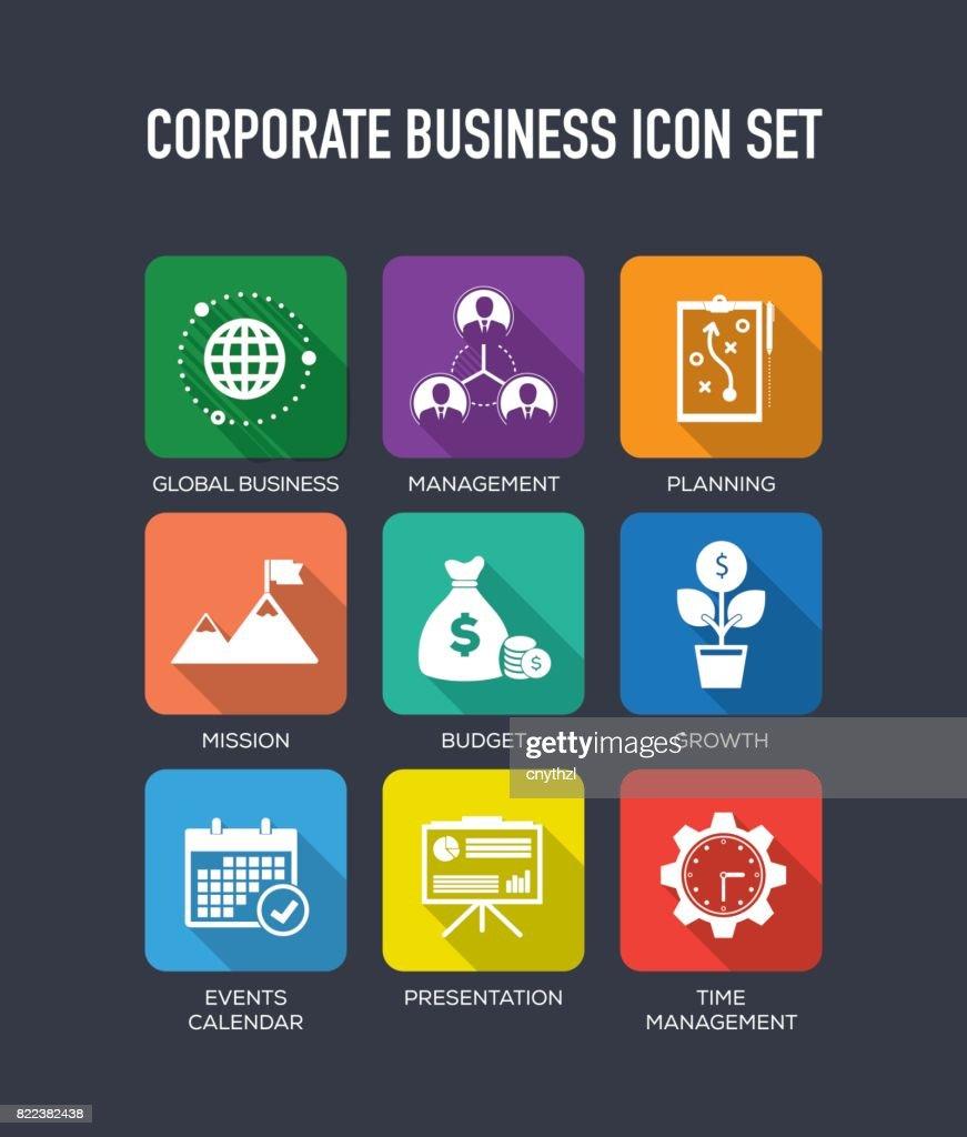 Corporate Business Flat Icons Set : stock illustration