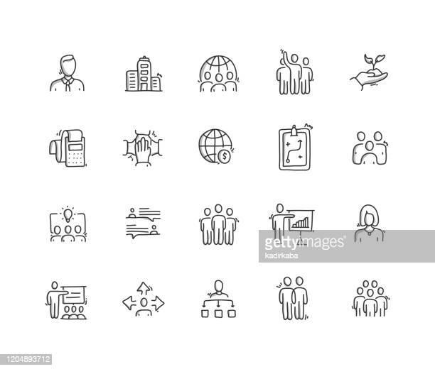 illustrations, cliparts, dessins animés et icônes de ensemble d'icônes de ligne de dessin de main d'entreprise d'entreprise - groupe de personnes