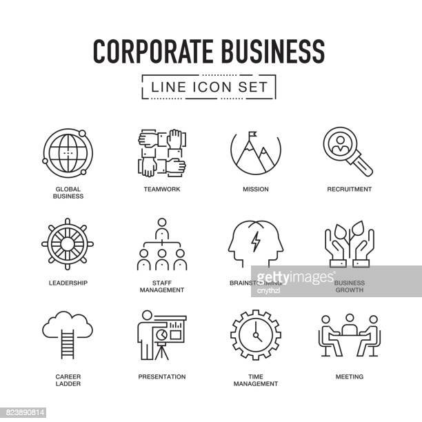 illustrations, cliparts, dessins animés et icônes de corporate business line icon set - culture d'entreprise