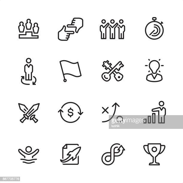 corporate business - outline icon set - war stock illustrations