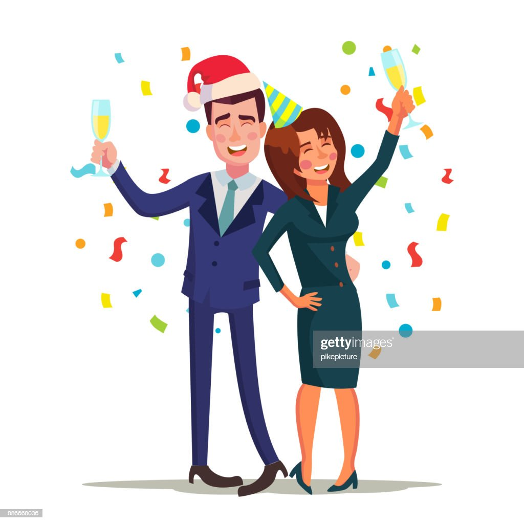Corporate Christmas Party Vector Smiling Drunk Man And Woman ...