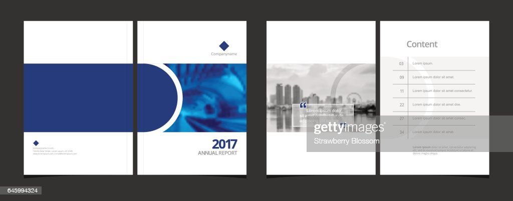 Corporate design annual report or catalog, magazine, flyer, booklet,  brochure. Set : include cover design and content page layout template size A4 vector EPS-10 and sample image with Gradient Mesh.