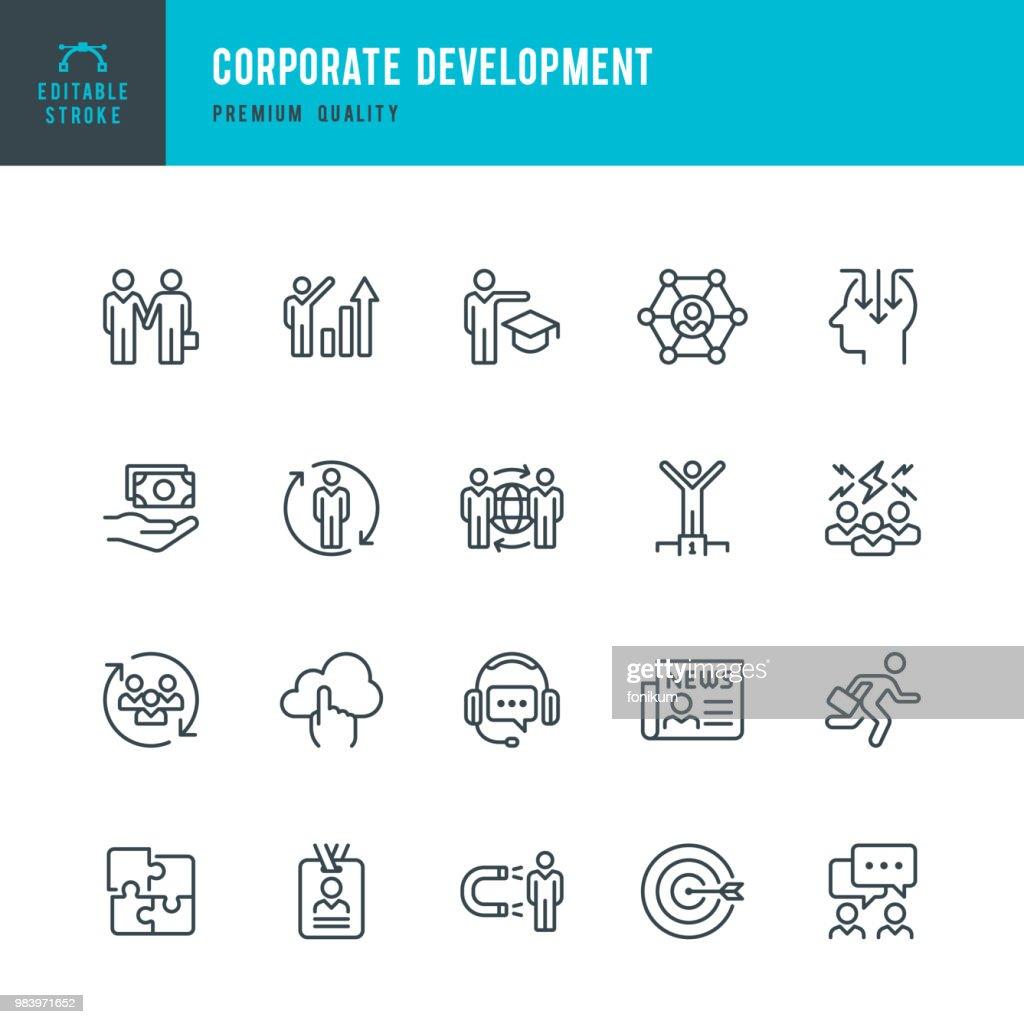 Corporate Development - set of line vector icons