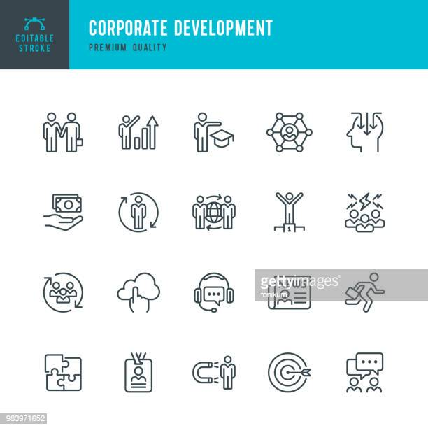 corporate development - set of line vector icons - partnership teamwork stock illustrations