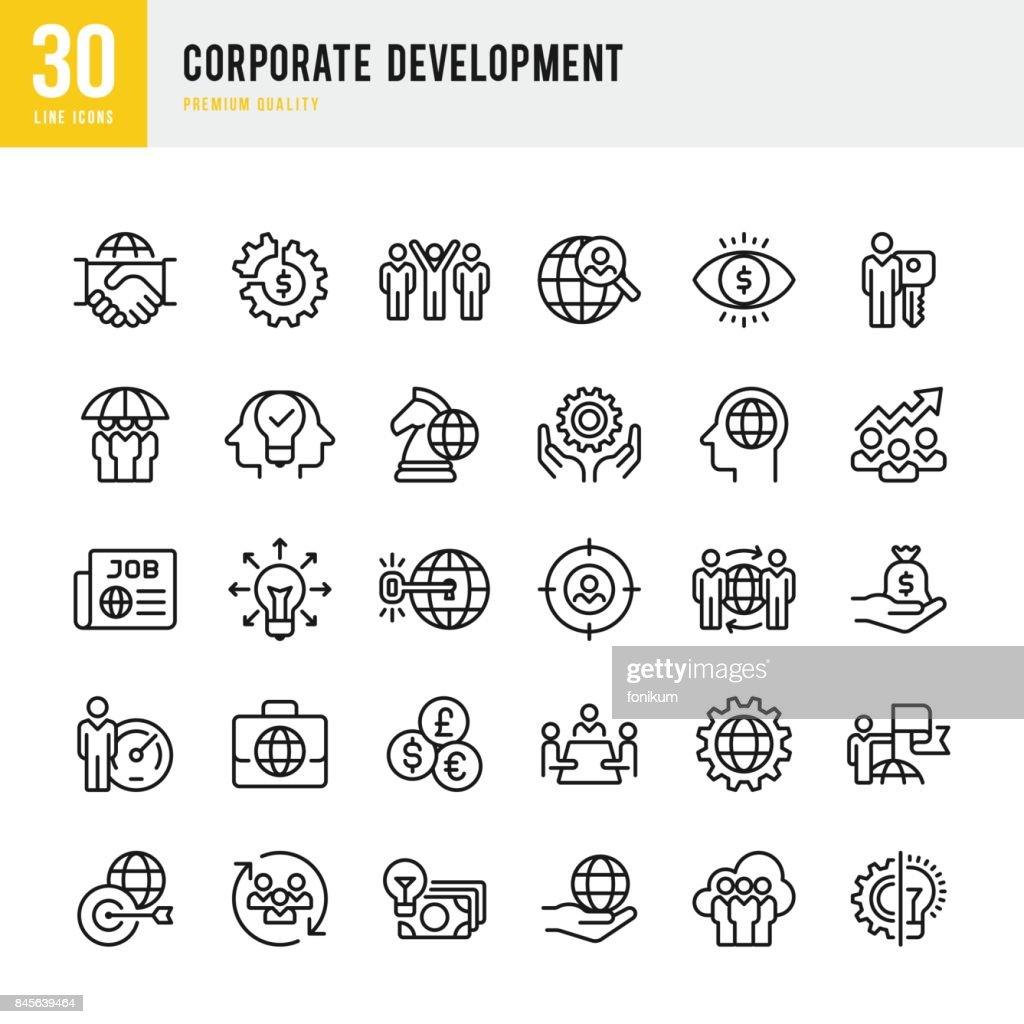 Desarrollo corporativo - conjunto de iconos de vector de línea delgada : Ilustración de stock
