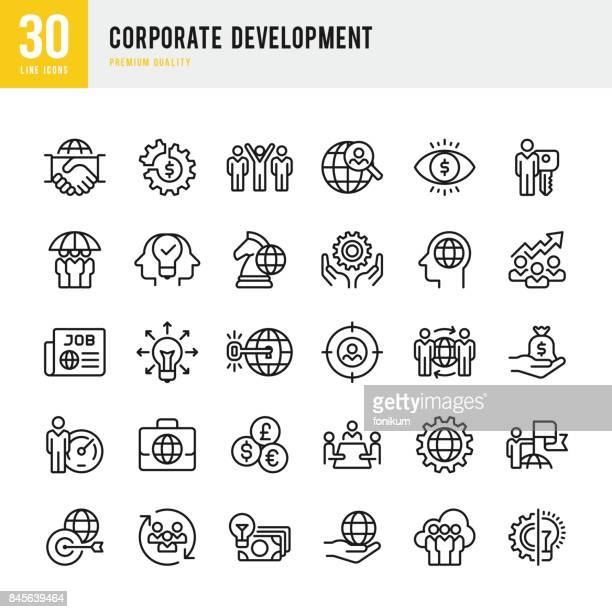 corporate development - set of thin line vector icons - strategy stock illustrations, clip art, cartoons, & icons