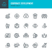 Corporate Development - set of thin line vector icons