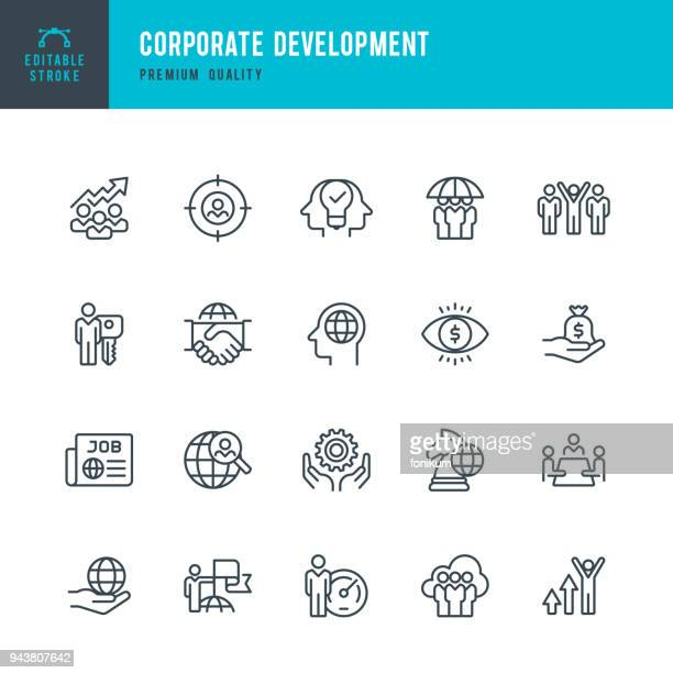 corporate development - set of thin line vector icons - partnership teamwork stock illustrations