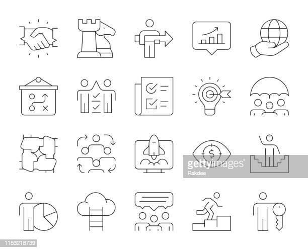 unternehmensentwicklung-dünn-line icons - konferenz stock-grafiken, -clipart, -cartoons und -symbole