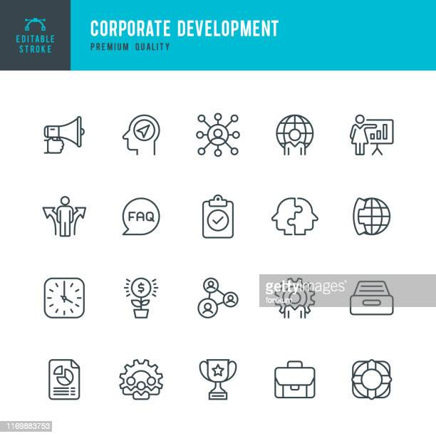 corporate development - vector line icon set - q and a stock illustrations