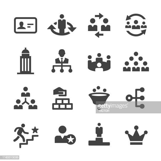 stockillustraties, clipart, cartoons en iconen met bedrijfshiërarchie-pictogrammen-acme-serie - flexplekken