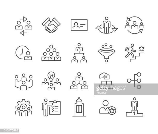 bildbanksillustrationer, clip art samt tecknat material och ikoner med ikoner för företagshierarki - klassisk linjeserie - coo