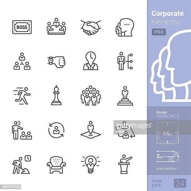 Corporate Hierarchy related vector icons - PRO pack