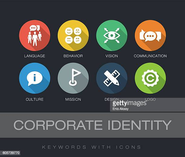 stockillustraties, clipart, cartoons en iconen met corporate identity keywords with icons - groot bedrijf