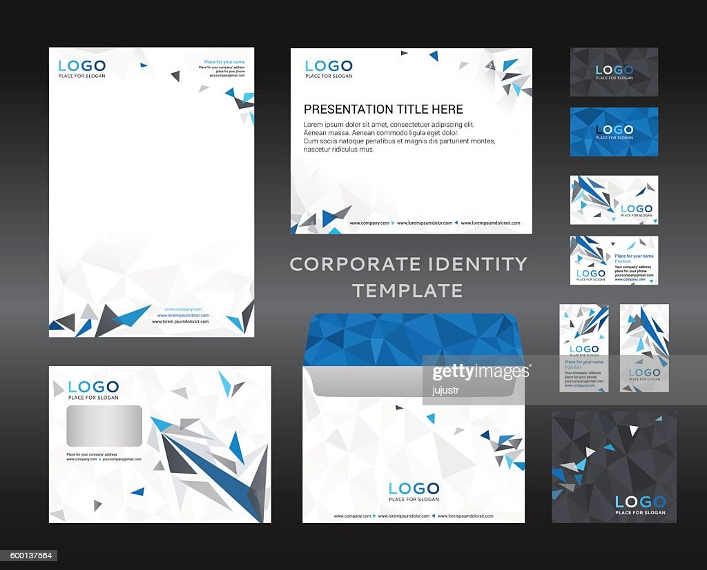 Corporate identity kit in low polygon style. Company style