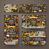 Corporate Identity set with doodles hand drawn Cafe theme