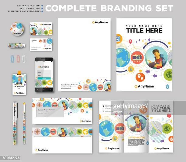 corporate identity stationary items - printout stock illustrations