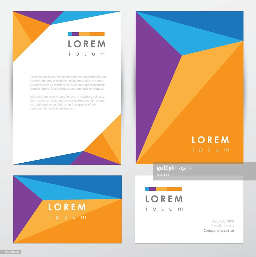 Corporate identity stationery set in multicolored low polygon style