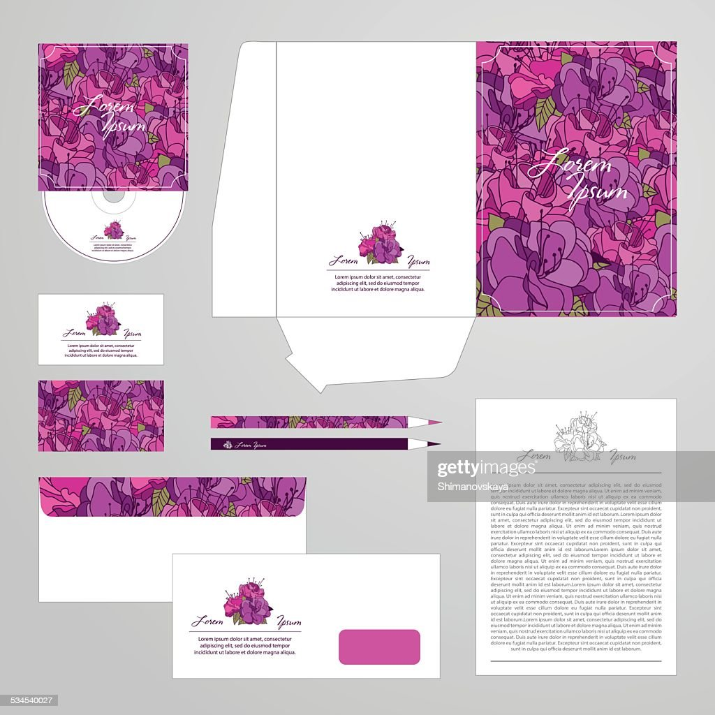 Corporate identity template with flower ornament.