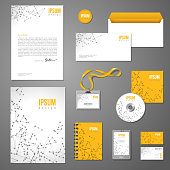 Corporate identity template with wireframe mesh polygonal elements